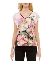 Ted Baker | Pink Ilenia Painted Posie V-neck Tee | Lyst