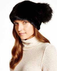 Maximilian | Black Maximilian Mink Hat With Fox Pom-pom | Lyst