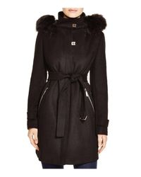 Calvin Klein | Black Belted Coat With Faux-fur Trim | Lyst