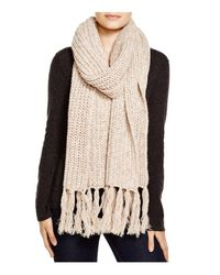 Aqua - Brown Chunky Knit Scarf With Fringe - Lyst