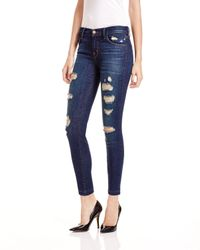 J Brand | Blue Low-rise Cropped Skinny Jeans In Demented | Lyst