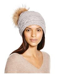 Inverni Gray Braid Knit Beanie With Asiatic Racoon Fur Pom-pom