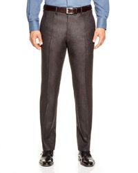 Valentini | Brown Flannel Melange Slim Fit Trousers for Men | Lyst