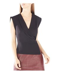BCBGMAXAZRIA | Black Maryah Draped Wrap Top | Lyst