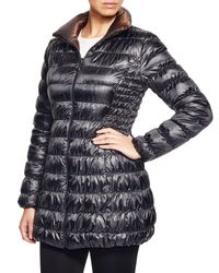 Laundry by Shelli Segal - Black Reversible Packable Puffer Coat - Lyst