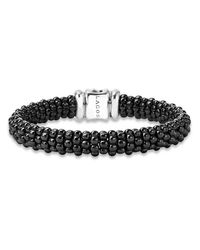 Lagos | Metallic Black Caviar Ceramic Bracelet With Sterling Silver And 3 Diamond Bars | Lyst