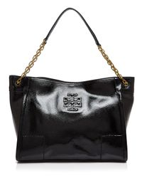 Tory Burch - Black Britten Patent Slouchy Tote - Lyst