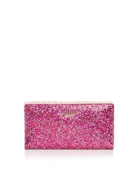 kate spade new york - Red Glitter Bug Stacy Zip Wallet - Lyst