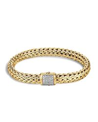 John Hardy   Metallic Classic Chain 18k Gold Medium Bracelet With Diamond Pave   Lyst