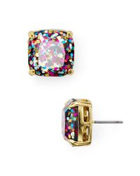 Kate Spade - Multicolor Small Square Glitter Stud Earrings - Lyst