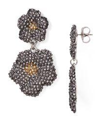 Roni Blanshay - Multicolor Swarovski Crystal Flower Drop Earrings - Lyst