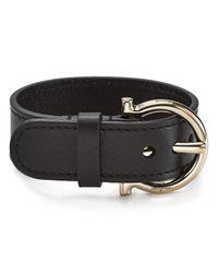 Ferragamo   Black Leather Gancini Buckle Bangle   Lyst