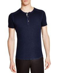 Wings + Horns | Blue Wings + Horns Slub Short Sleeve Henley for Men | Lyst