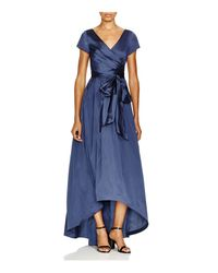 Adrianna Papell | Blue High Low Taffeta Gown | Lyst
