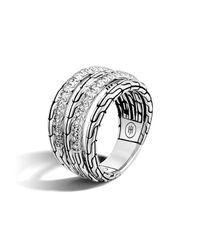 John Hardy | Metallic Classic Chain Silver Diamond Five Row Ring | Lyst