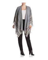 Eileen Fisher - Gray Stripe Fringe Serape - Lyst