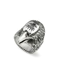 Gucci - Metallic Sterling Silver Angry Forest Eagle Head Ring for Men - Lyst