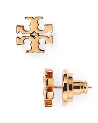 Tory Burch | Metallic Logo Stud Earrings | Lyst