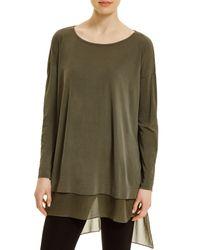 Eileen Fisher | Green Silk Sheer Hem Tunic | Lyst