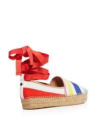 kate spade new york - Red Leena Ankle Wrap Platform Espadrille Flats - Lyst