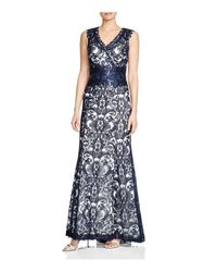 Tadashi Shoji   Blue V-neck Sequined Corded Lace Gown   Lyst