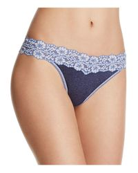 Hanky Panky | Blue Heathered Jersey & Lace Original-rise Thong #681801 | Lyst