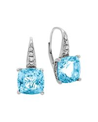 John Hardy   Sterling Silver Batu Classic Chain Drop Earrings With Blue Topaz And Diamonds   Lyst