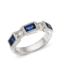 Judith Ripka | Metallic Narrow Estate Triple Baguette Ring With White Sapphire And Lab-created Blue Corundum | Lyst