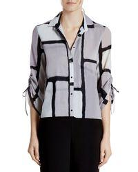 Halston - Black Printed Silk Blend Blouse - Lyst