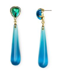 Kenneth Jay Lane - Green Aqua Drop Earrings - Lyst