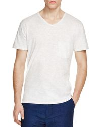 7 For All Mankind | White Raw Edge Heathered V-neck Tee for Men | Lyst