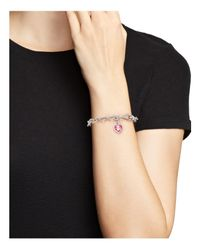 Judith Ripka - Sterling Silver Single Heart Charm Bracelet With Lab-created Pink Corundum - Lyst