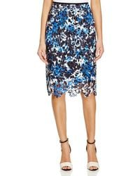 T Tahari - Blue Teagan Printed Lace Skirt - Lyst