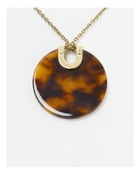 "Michael Kors - Metallic Disc Pendant Necklace, 16"" - Lyst"