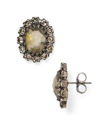 Sorrelli - Black Swarovski Crystal Stud Earrings - Lyst