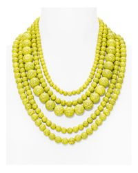 BaubleBar | Yellow Globe Strands Layered Necklace, 18"