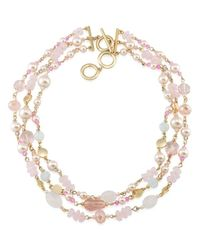 "Carolee - Metallic Gracie Mansion Three-row Beaded Necklace, 16"" - Lyst"