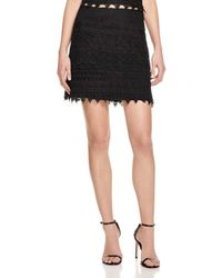 Aqua - Black Geometric Lace Mini Skirt - Lyst