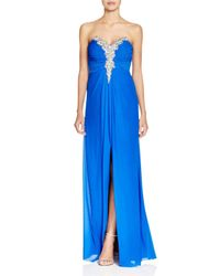 Decode 1.8 - Blue Embellished Strapless Gown - Lyst