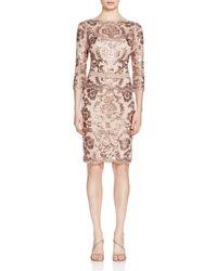 Tadashi Shoji - Pink Sequined Lace Dress - Lyst