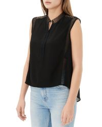 Sandro - Black Escale Lace Trim Top - Lyst