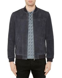 Ted Baker | Blue Vipers Suede Bomber Jacket for Men | Lyst