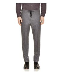 Z Zegna - Gray Stretch Wool Slim Fit Drawstring Trousers for Men - Lyst