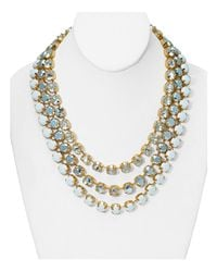 ABS By Allen Schwartz | Metallic Triple Strand Statement Necklace, 16"