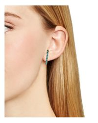 Rebecca Minkoff - Blue Beaded Vertical Huggie Earrings - Lyst