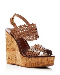 Tory Burch | Brown Floral Perforated Cork Wedge Sandals | Lyst