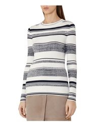 Reiss | White Boham Striped Knit Top | Lyst