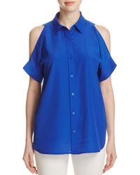 MICHAEL Michael Kors - Blue Cold Shoulder Shirt - Lyst