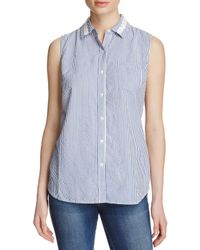 Birds Of Paradis - Blue Seersucker Stripe Shirt - Lyst