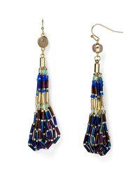 Aqua - Blue Della Beaded Drop Earrings - Lyst